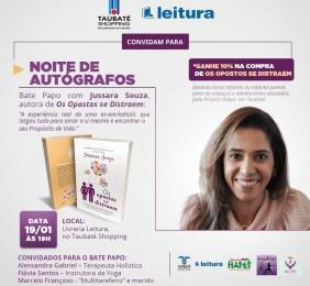 Noite de autógrafos celebra a primeira obra da ex-workaholic Jussara Souza