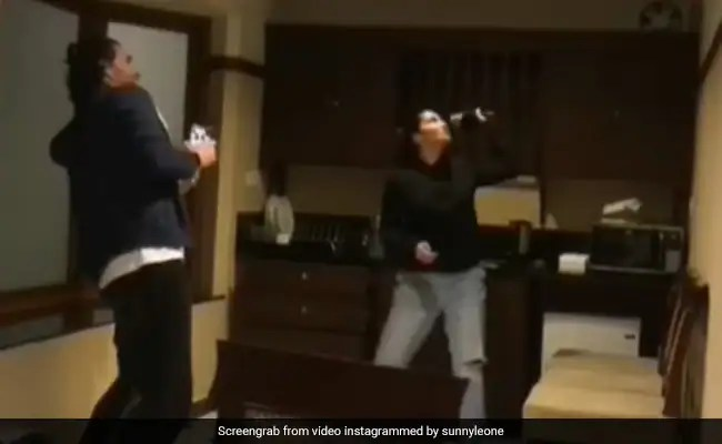 """It's Sunny Leone Vs """"Wild Flying Cockroach"""" In This ROFL Clip. Don't Miss Her Husband Daniel Weber's Reaction"""