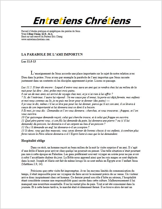 Recueil 111 - La parabole de l'ami importun