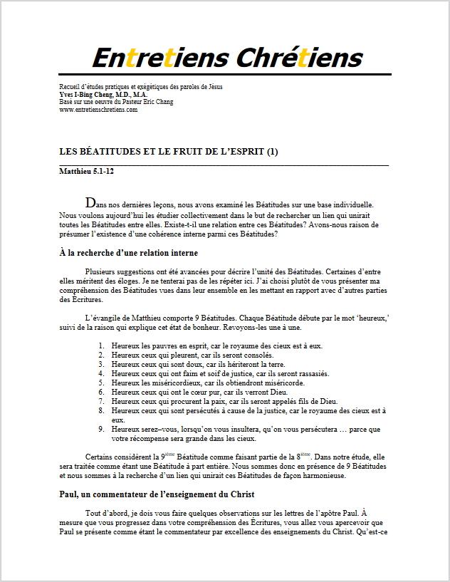 Recueil 021 - Les Béatitudes et le fruit de l'Esprit (1)