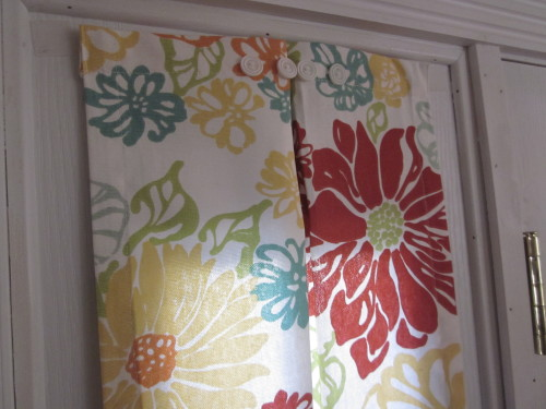Sidelight Curtain Red Orange Flower Full