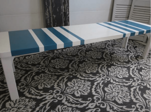 Modern Turquoise & White Coffee Table / Bench