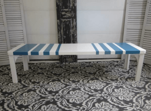 Modern turquoise coffee table bench