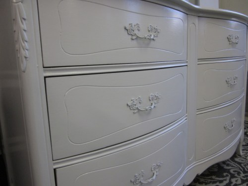 six drawer white french dresser