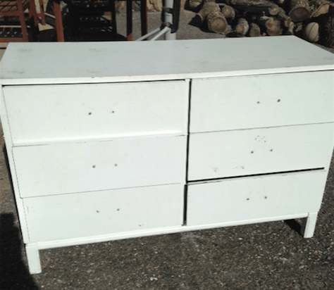 Modern white 6-drawer dresser with champagne bronze hardware