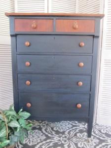 navy blue dresser, english chestnut stain