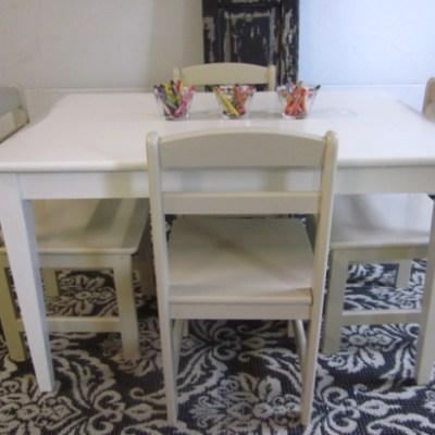 Kids' White Table & Khaki Chairs