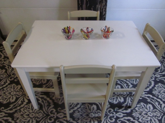 Kids White Table & Khaki Chairs