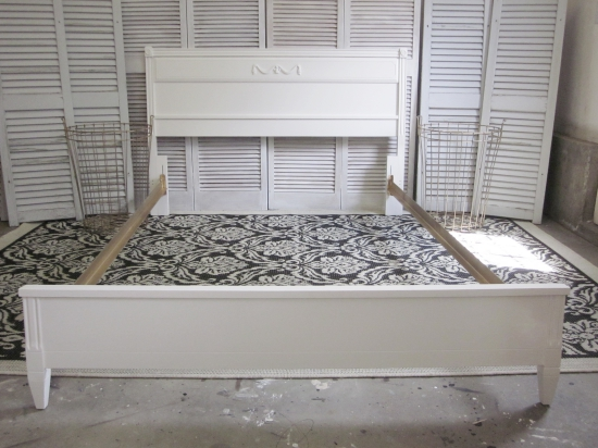 Superb White Full Bed with Gold Rails