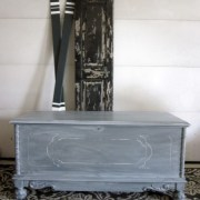 white washed over gray cedar chest