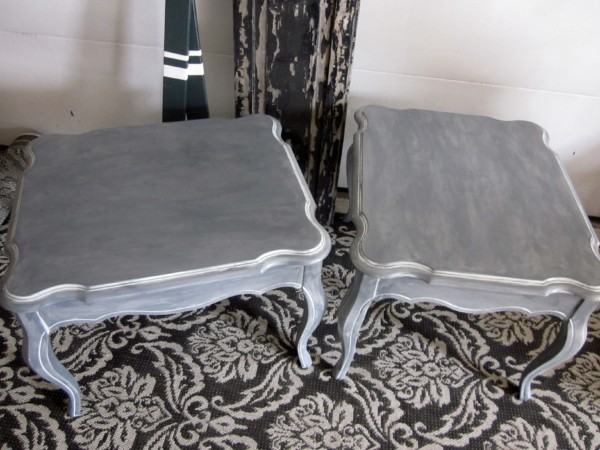 Dark Gray End tables with White Wash