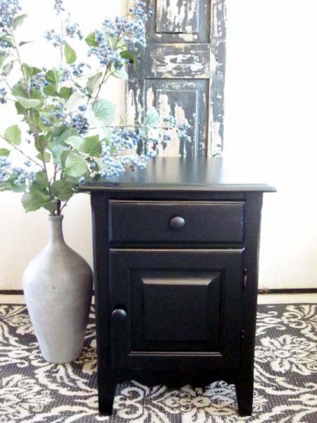 black side table, enamel paint