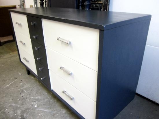 mcm mid century modern blue white dresser