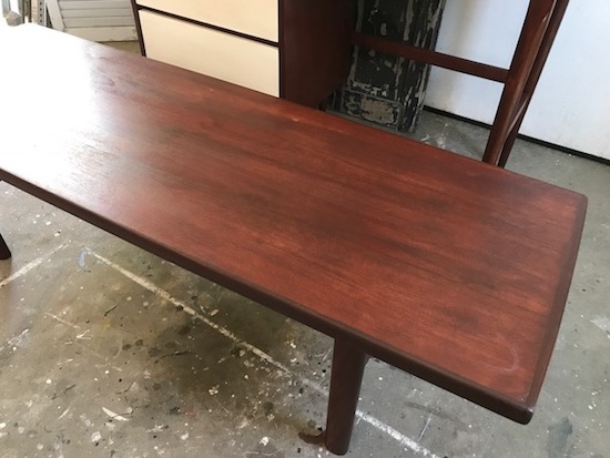 stained mcm coffee table | entri ways
