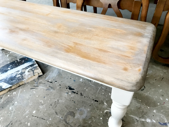 white and dark walnut stain on maple wood
