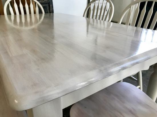 white washed maple table