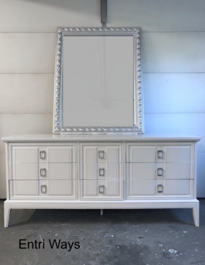 Dixie Dresser, Long White 9 Drawer Dresser square pulls