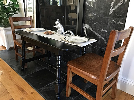 kids black table, kids stained chairs