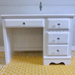 White Desk Clear Knobs