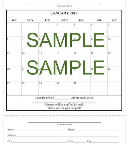 Jan2019 blank calendar raffle sample
