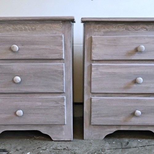 Gray & White end tables