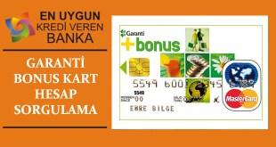 Garanti Bonus Kart Hesap Sorgulama