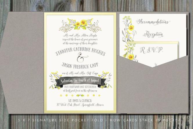 Gray Pocket Fold Wedding Invitation