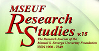 MSEUF Research Studies online journals The official research journal of the Manuel S. Enverga University Foundation.