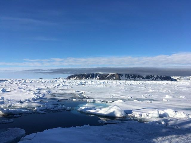 A rocky island in the Svalbard archipelago