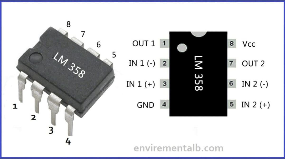LM358 IC pin outputs and descreptions