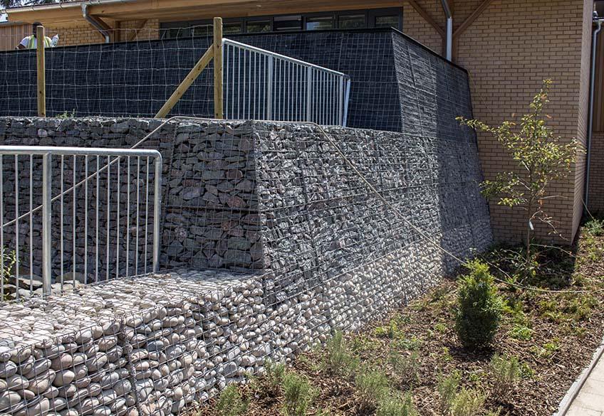 Abbott's Hill School Gabion Landscaping Welded Trapezoidal Benches