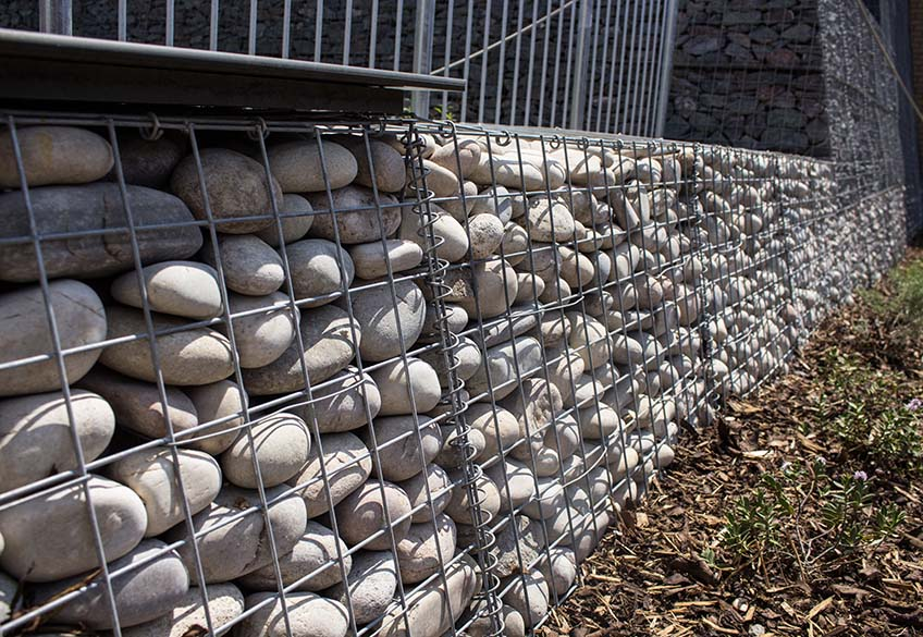 Abbot's Hill School Gabion Landscaping Welded Trapezoidal Benches