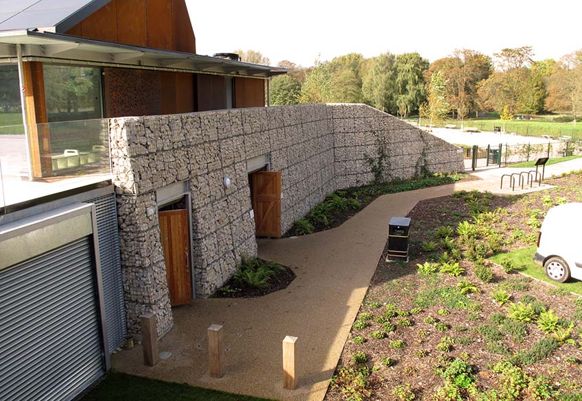 Gabions at Cassiobury Park Welded Trapezoidal Freestanding Cladding Wall