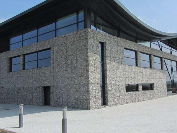 Architectural gabion cladding at the Nestle Waters factory in Buxton