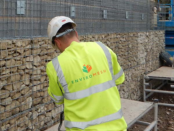 JLR Test Track Gabion Cladding Installation