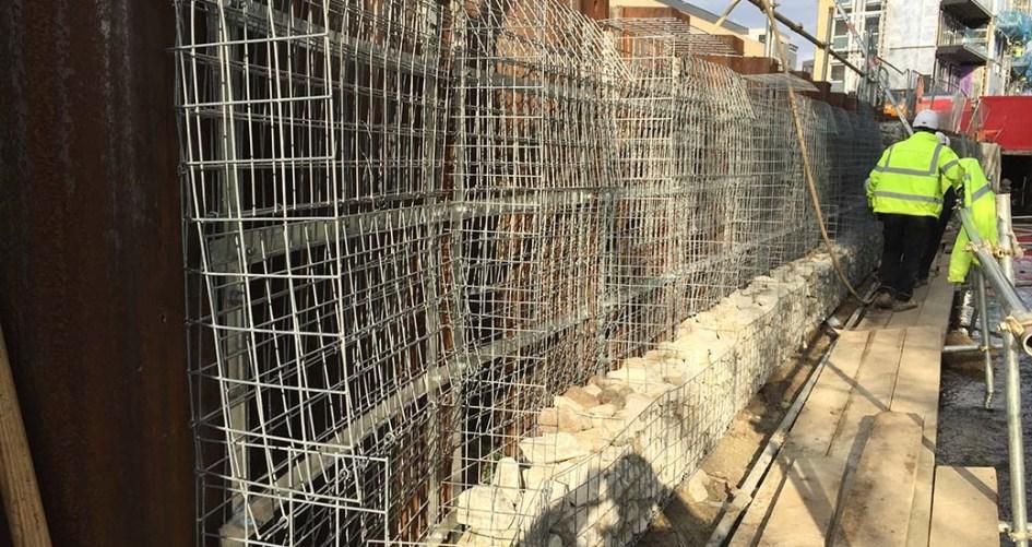 Walthamstow Stadium Welded Gabion Architectural Cladding to Sheet Piles Portfolio