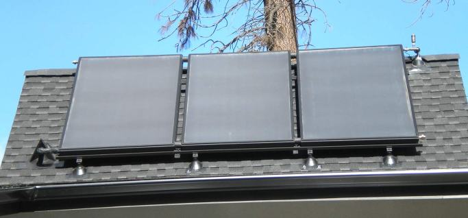 Hydronic solar panels integrated into the architecture