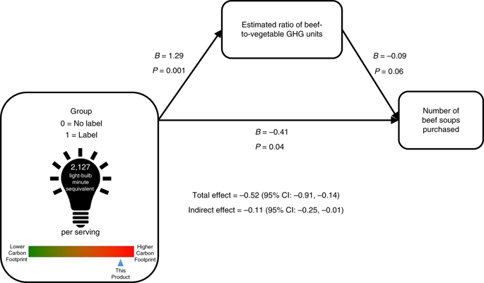 A schematic diagram. In the bottom left is a label that indicates the number of light-bulb equivalents of greenhouse gases that are produced in making one serving of soup. The label also has a color scale that says how large the carbon footprint of this soup is relative to other soups. When people saw the label, they gave a higher (more accurate) estimation of the ratio of beef to vegetable greenhouse gas emissions and purchased fewer cans of beef soup.