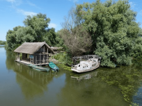 A residence on the Okavango River delta in Africa.