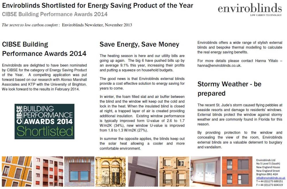 Enviroblinds Newsletter Nov 2013
