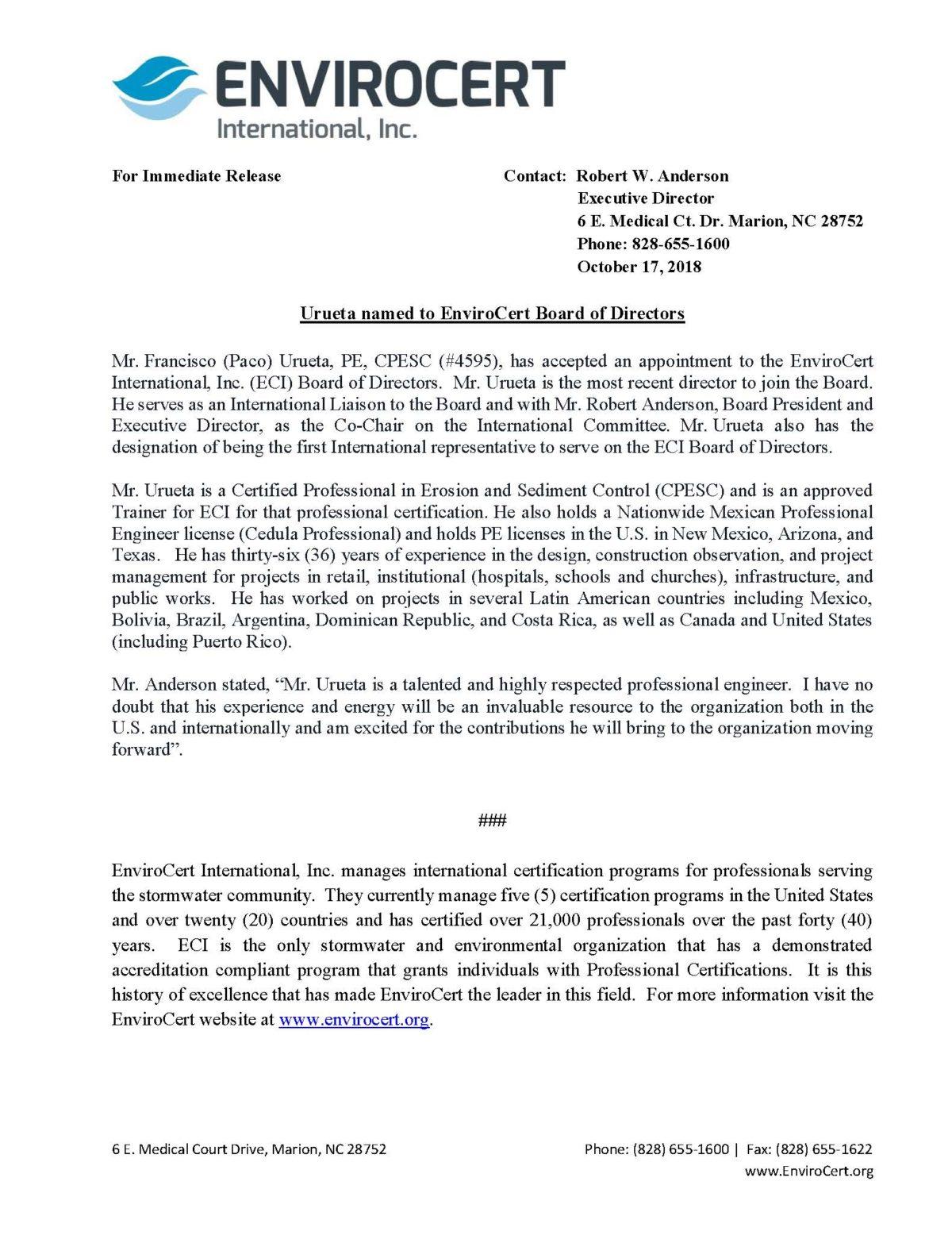 Press Release: Urueta Named to BOD - EnviroCert International. Inc.