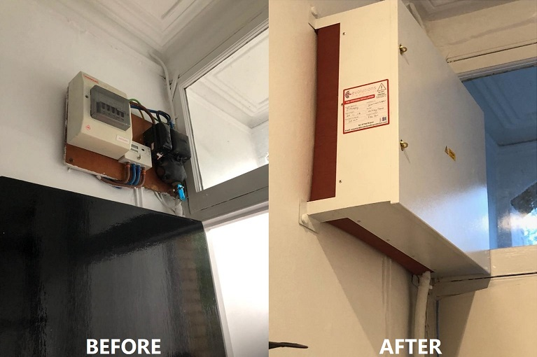 Before & After Installing protection for Electrical Consumer Units