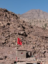 Moroccan flag flying in Toubkal National Park, Morocco