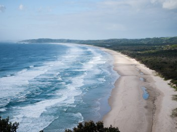View of Tallows Beach and Creek from the Byron Bay Lighthouse, Arakwal National Park