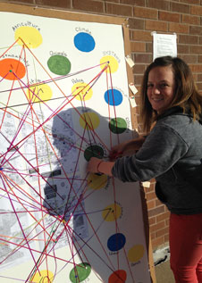 Student poses with the interdisciplinary connection chart