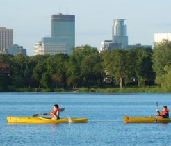 Yellow Kayaks on the Mississippi