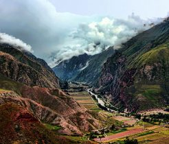 a farming community in the valley of two mountains