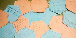 post it notes contain written ideas for a value shift