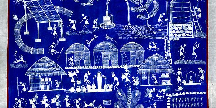 Tapestry: Warli Water Solar