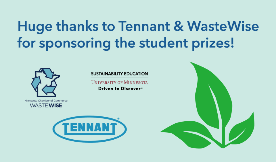 Image with logos for Minnesota Waste Wise, Tennant and Sustainability Education next to green leaves.